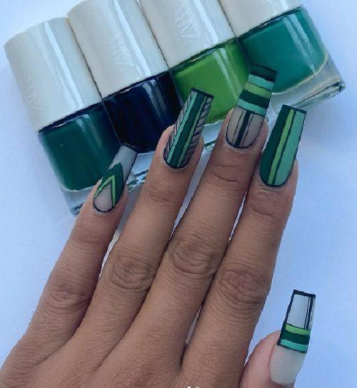 ідеї з фото осіннього манікюру зеленого кольору