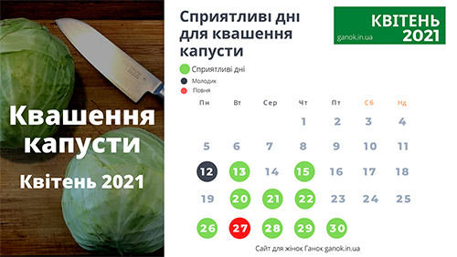 календар квашення капусти на квітень 2021
