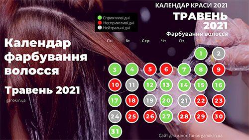 Календар краси 2021. Сприятливі дні для фарбування волосся травень 2021