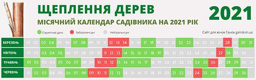 Календар садівника 2021 Календар щеплення дерев 2021