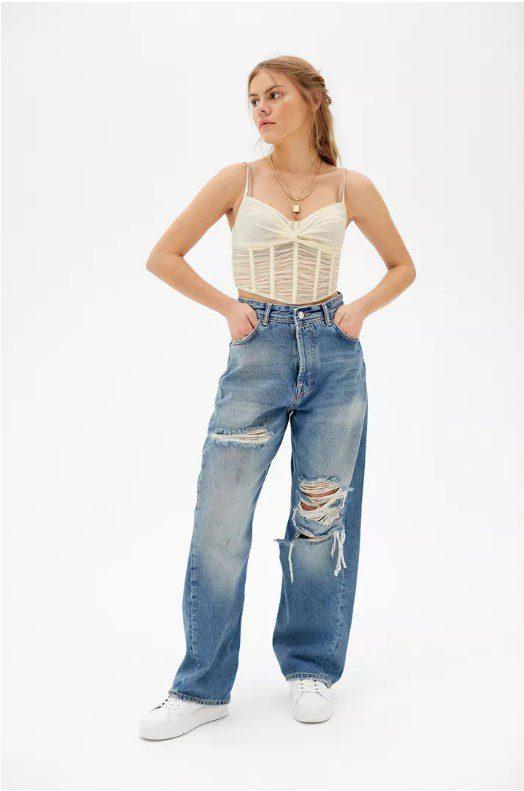 Багі джинси з дірками мом стиль