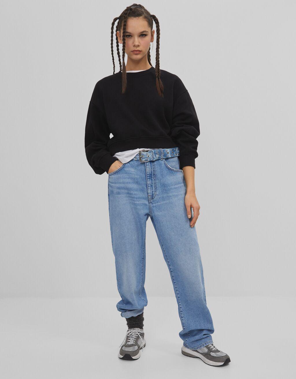 Багі джинси з поясом з плотного деніму