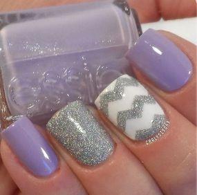 Бузок і срібло - цікава ідея для нейл покриття на весілля