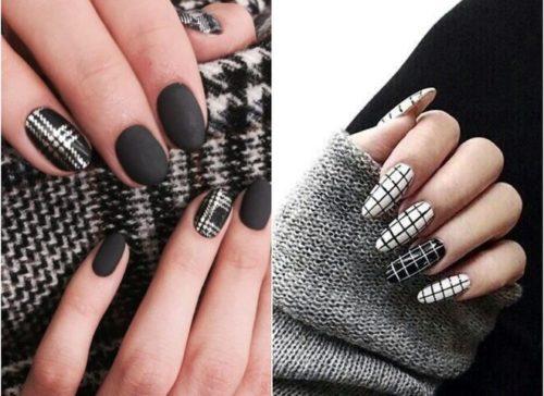 ідеї чорно білого нейл-покриття на короткі нігті фото