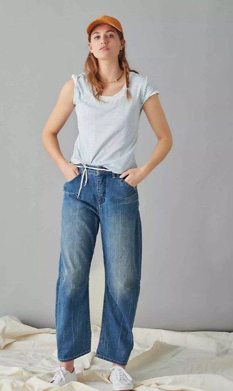 Мом стиль багі джинси завищена талія
