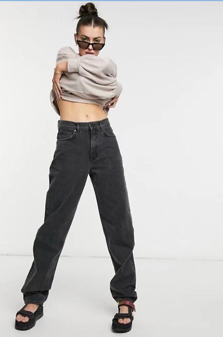 Чорні подовжені багі джинси