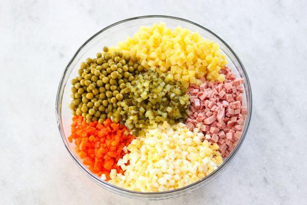Класичний Олів'є - головний рецепт новорічного салату з ковбасою чи м'ясом курки