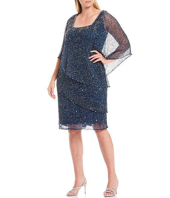 Шикарна сукня з бісером для жінки плюс-сайз на На новий Рік чи інший захід