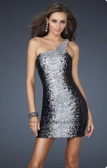 Коктейльна блискуча сукня міні