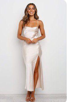 Біла атласна сукня на вечірку
