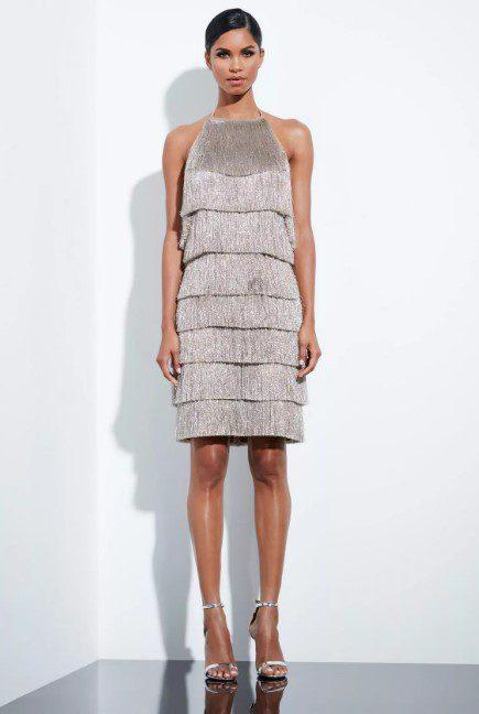 Блискуче плаття з бахромою